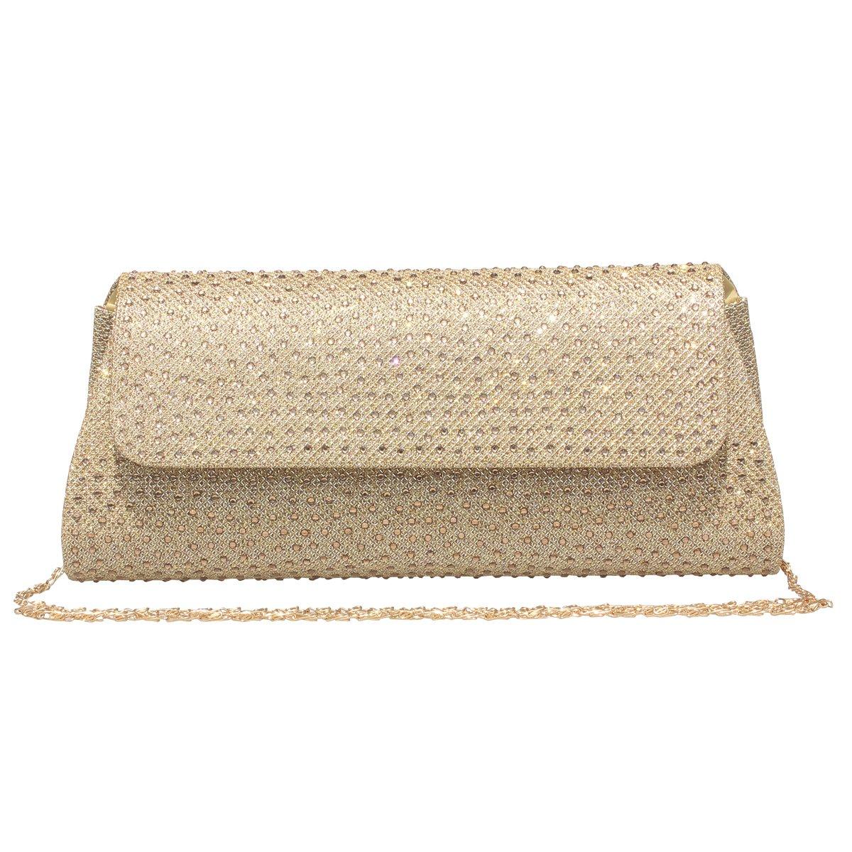 Womens Evening Rhinestone Frosted Clutch Bag Handbag Wedding Party Bridal Purse Gold