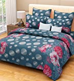 Home Candy 100% Cotton Dazzling Grey Floral Double Bed Sheet with 2 Pillow Covers