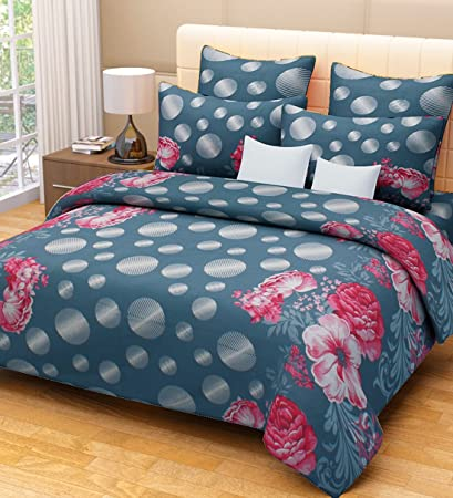 Home Candy 144 TC Floral Cotton Kids Double Bedsheet With 2 Pillow Covers    Grey (