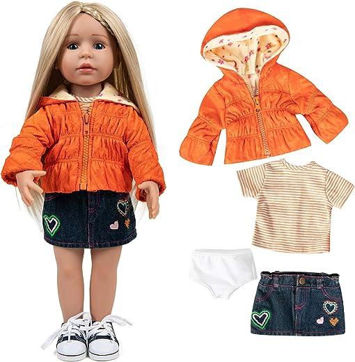 Rakki Dolli Fashion Handmade Doll Clothes Set 4 Piece Orange Down Jacket Set Includes Warm Hooded Coat, T-Shirt, Jeans Skirt & Underpants, Party Dress Casual Wear Fits American Girls 18 inch Dolls