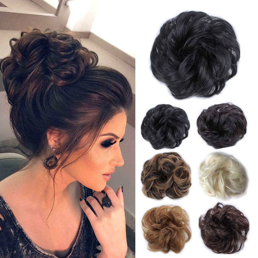 a496c3bfe5 Amazon.com : Hairpieces for Women Synthetic Scrunchies Hair Bun Extension  Messy Bun Donut Hair Pieces Updo Ponytail (Jet Black #1) : Beauty