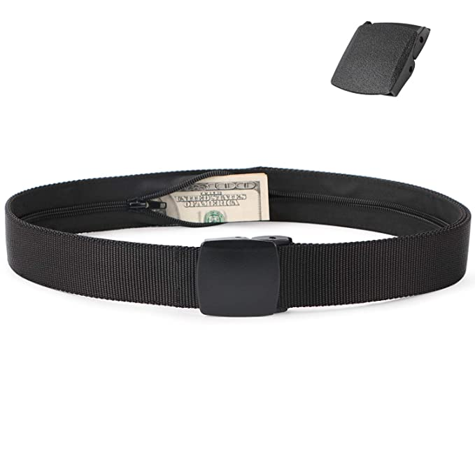 da9e086eaaa Nylon Money Belt Wallets for Men Money Pouch Black Military Tactical Web  Belt Non-Metal with Plastic Buckle by SUOSDEY  Amazon.co.uk  Clothing