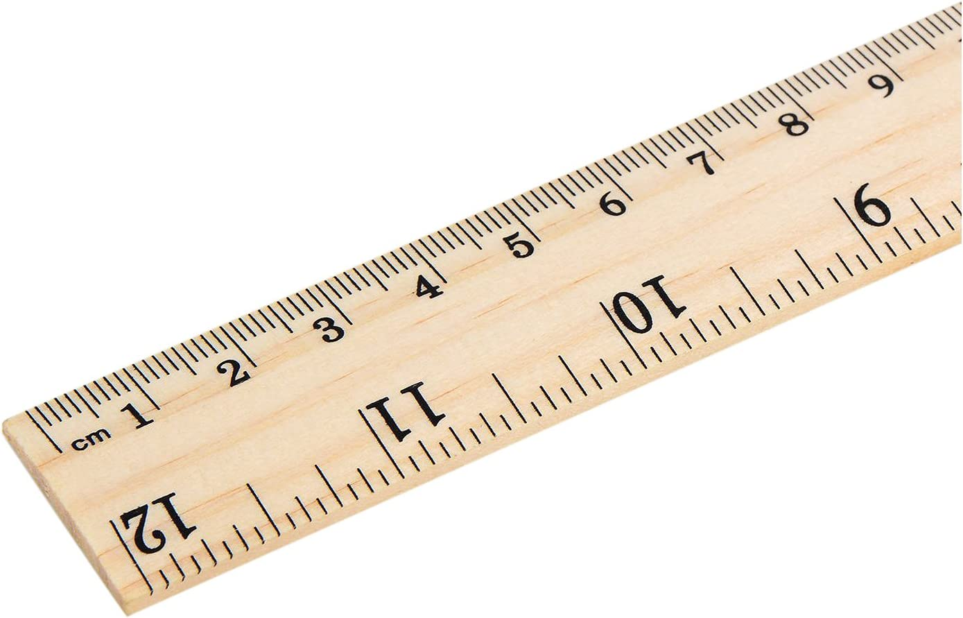 Pack of Two 30cm Wooden Rulers 12 inch Ruler Office Stationery School Kids
