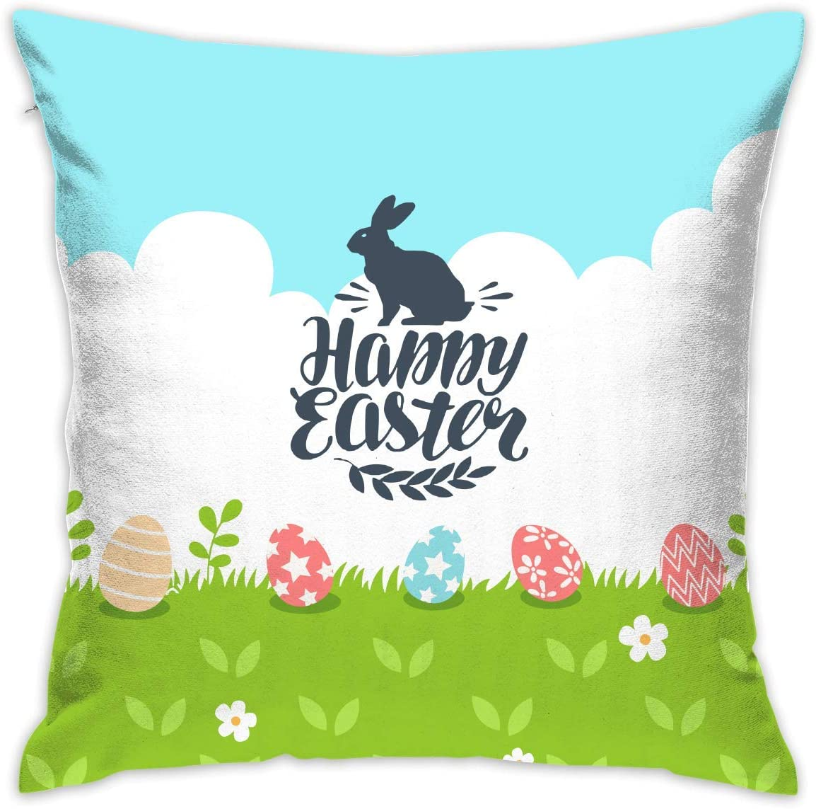 shizh Blue Sky Happy Easter Rabbit Egg Decor Throw Pillow Cover ...