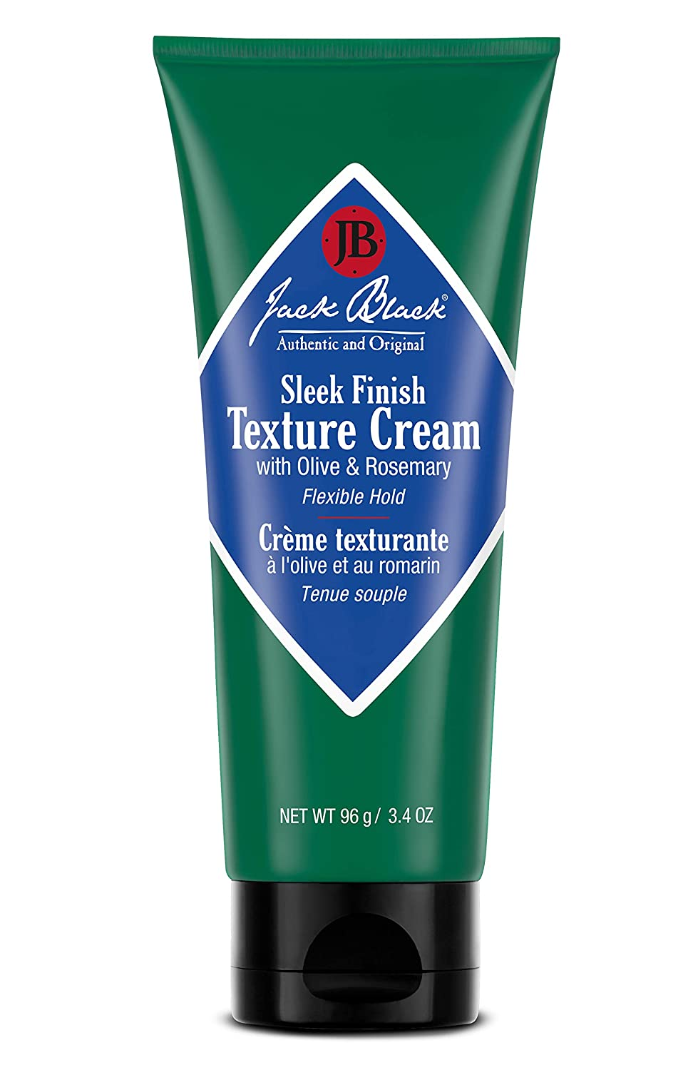 Jack Black - Sleek Finish Texture Cream, 3.4 fl oz - Anti-Frizz, Flexible Hold, Lightweight Cream, Natural Oils, Botanical Extracts, Amino Acids, Fragrance-Free, Non-Greasy Formula