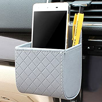 Black Car Auto Seat Back Interior Air Vent Tidy Storage Coin Bag Case Organizer Phone Case Box Holder Pounch Box with Hook