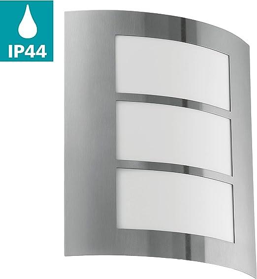 EGLO CITY Aplique de pared para exterior Acero inoxidable E27 15 W - Iluminación al aire libre (Aplique de pared para exterior, Acero inoxidable, Acero inoxidable, IP33, Entrada, Jardín, Patio, I): Amazon.es: