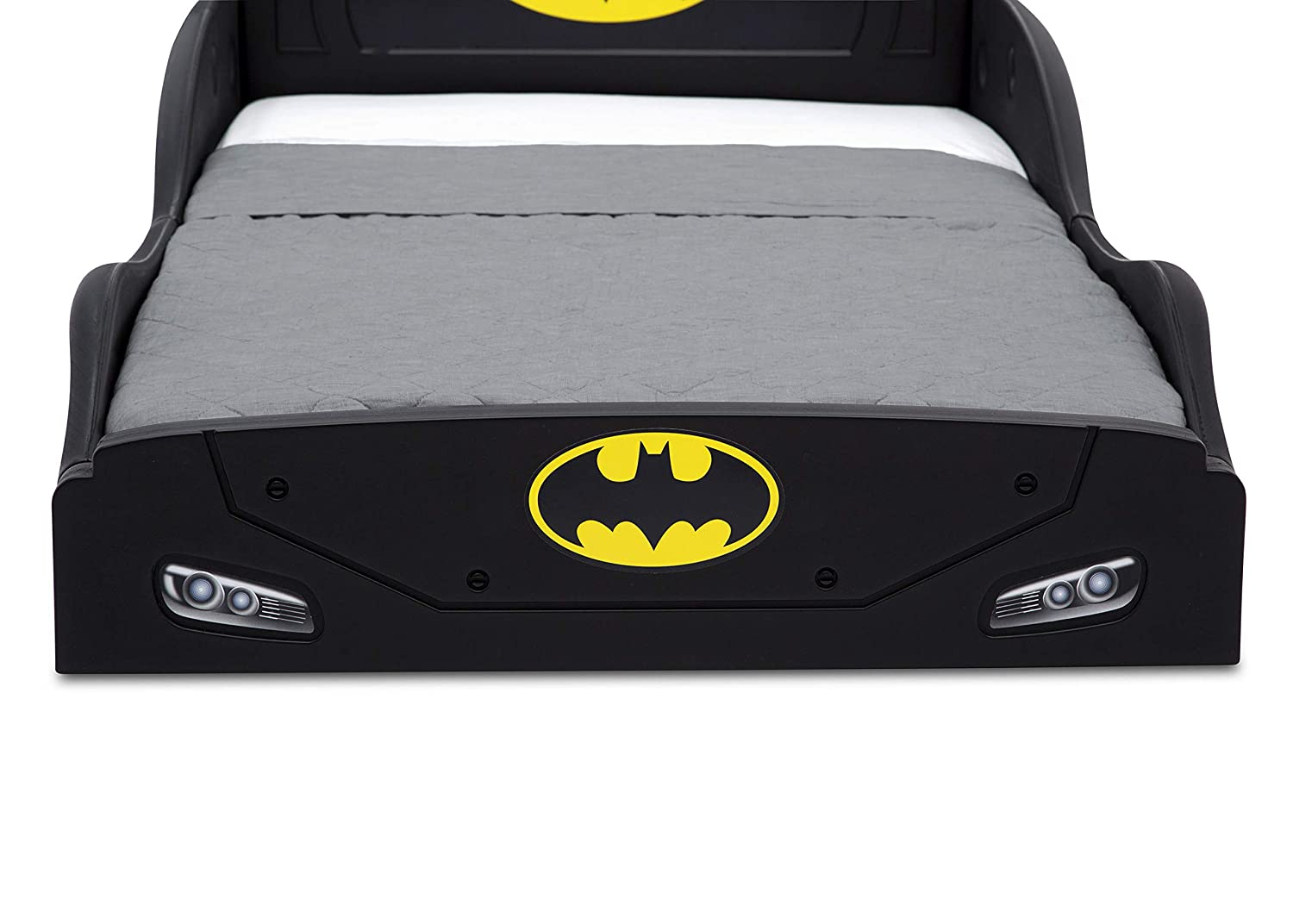 DC Comics Batman Batmobile Car Sleep and Play Toddler Bed with Attached Guardrails by Delta Children