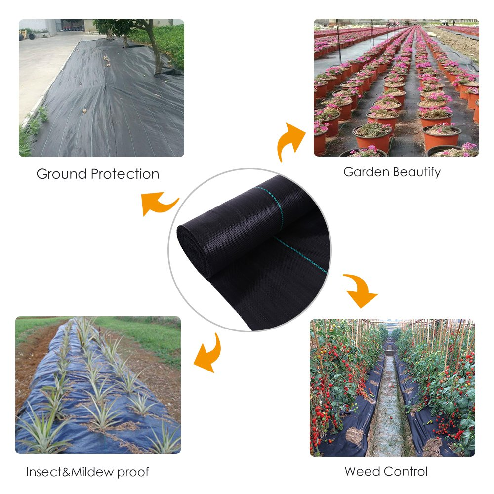 OriginA 2.3 Oz Premium Weed Control Fabric Ground Cover Weed Barrier Eco-Friendly for Vegetable Garden Landscape,Non Woven Fabric,(3x50ft,Black)