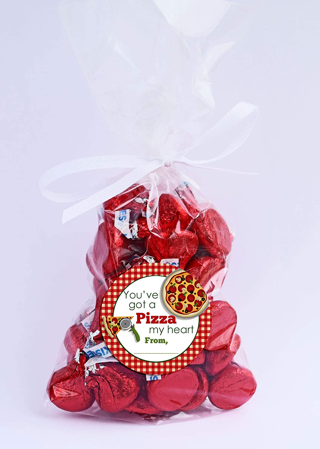 Gifts /& Treats Great for Classroom Valentines 40 2 Party Circle Stickers by AmandaCreation Envelope Seals Piece of My Heart Pizza-Themed Valentine Party Favor Sticker Labels