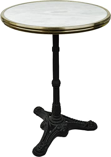 Bonnecaze Absinthe Home French Bistro Table, White Marble Iron Base