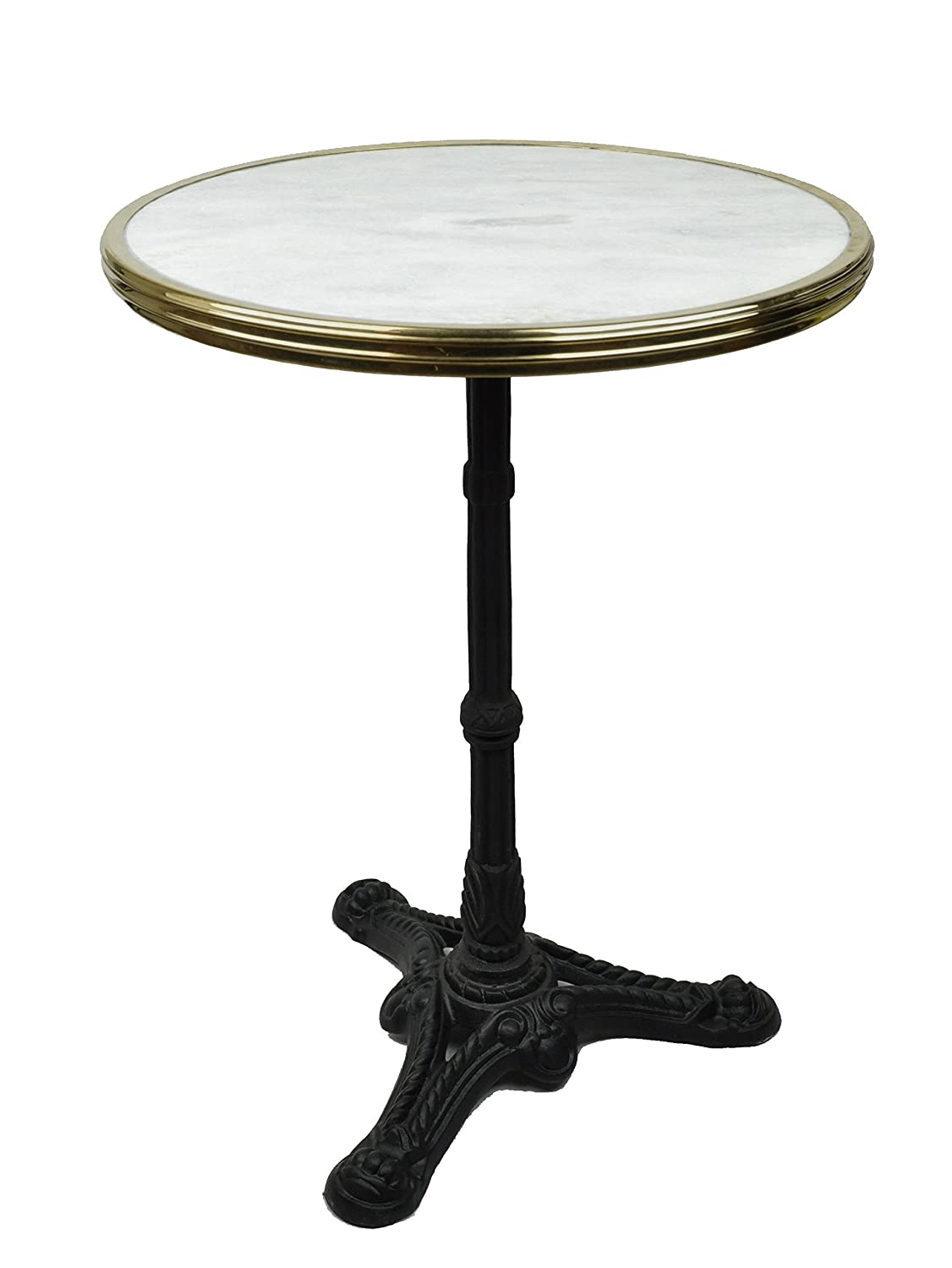 French bistro table with marble top and iron base