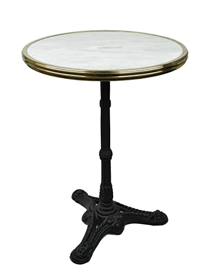 French Bistro Table, White Marble U0026 Iron Base