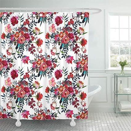 Emvency Shower Curtain Set Waterproof Adjustable Polyester Fabric Orange Cranberry Watercolor Flowers Red Navy Blue Magenta
