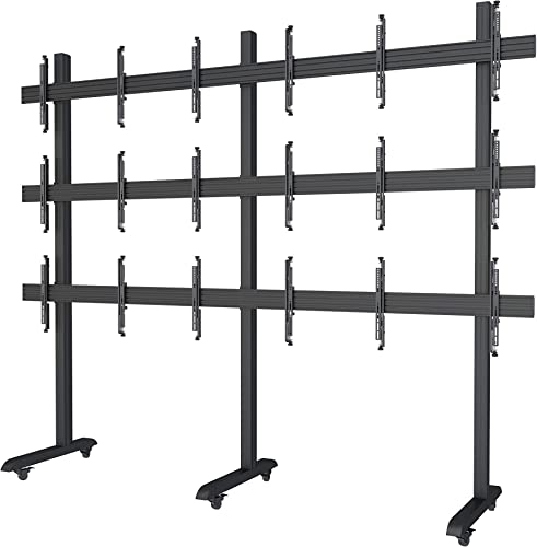 3×3 Video Wall Rolling Mount Cart Display