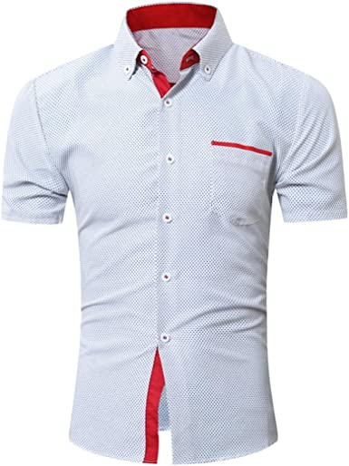 Yvelands Camisa de Solapa de Mezcla de algodón Hombres Camisa ...