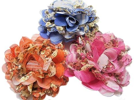 YYCRAFT 10 pcs Leopard Chiffon Flower for Kids Girls Headband Baby Flowers