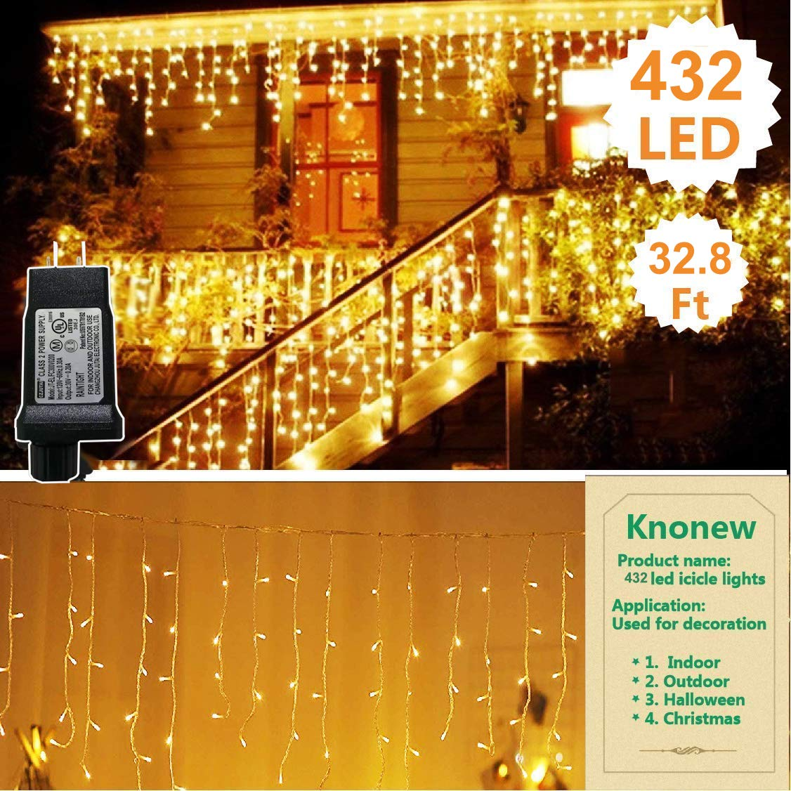 KNONEW LED Icicle Lights, 432 LEDs, 32.8ft, 8 Modes, Curtain Fairy Light, LED String Light for Wedding/Christmas/Halloween/Thanksgiving/Easter/Party Backdrops (Warm White)