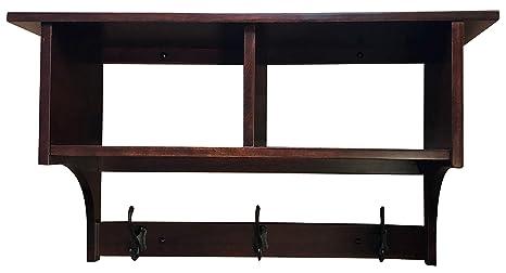 Amazon.com: Perchero de madera Cubby estante montado en la ...