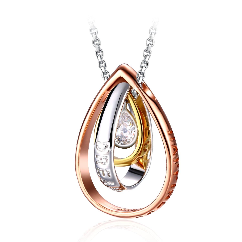 Collier, J.Rosée Argent 925 Bijoux Femme/Fille 5A Zirconium cubique, Pendentif Idéal, chaîne 45+5cm Cadeau parfait Rêve d'elle JR609