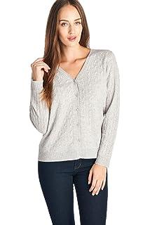 4cbd69a6300 Mariyaab Women s 100% Cashmere Long Sleeve V-Neck Cardigan at Amazon ...