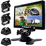 Podofo 9V-24V Car Backup Camera Kit, 7 Inch HD Quad Split Monitor + 4 x Waterproof IR Night Vision Front Rear Side View Cameras and 33ft AV Cables, Mirror/Normal Image
