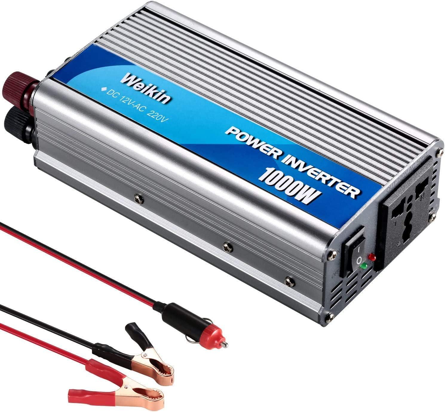 🇪🇸weikin Power Inverter 1000W inversor de energia DC 12V to AC 220V 230V 240V convertidor de Poder Utilizar Tanto en Coche como en casa