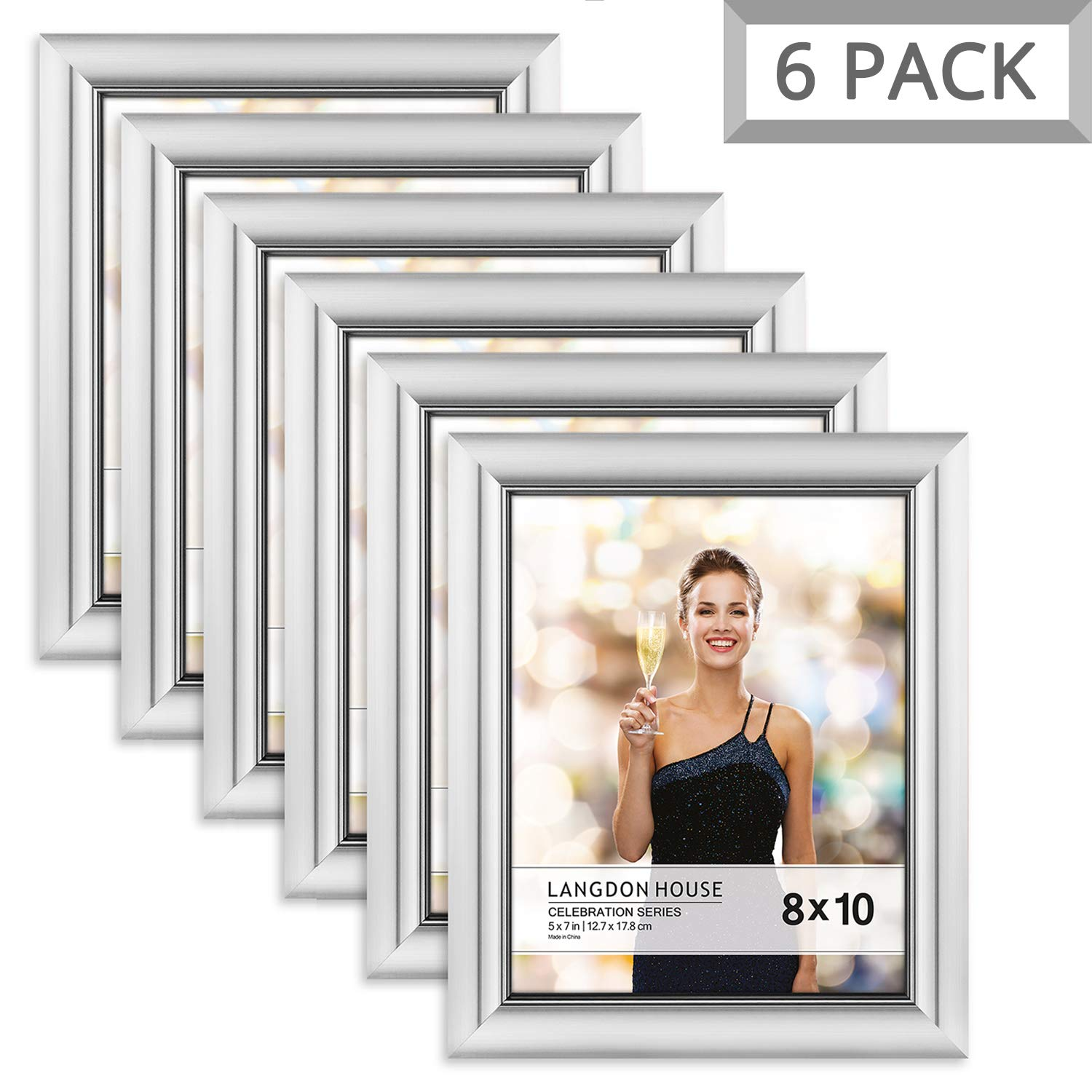 Langdon House 8x10 Picture Frame (6 Pack, Silver), Silver Photo Frame 8 x 10, Wall Mount or Table Top, Set of 6 Celebration Collection