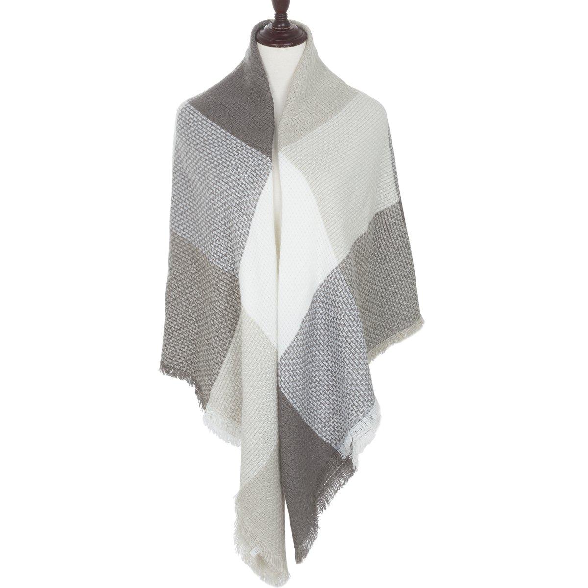 169a8ef6ec5 Women Square Scarf Oversized Tartan Blanket Large Winter Warm Shawl ...