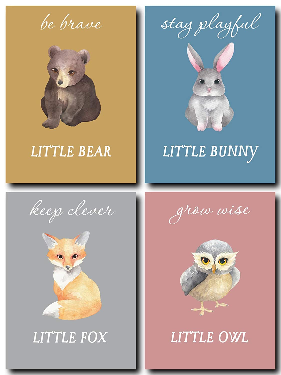 L & O Goods Woodland Animals Inspirational Nursery Décor | Baby Boy & Girl Wall Art Watercolor Prints | Set of 4 Posters for Bedroom Decoration | Cute Kids Posters | 8 x 10's