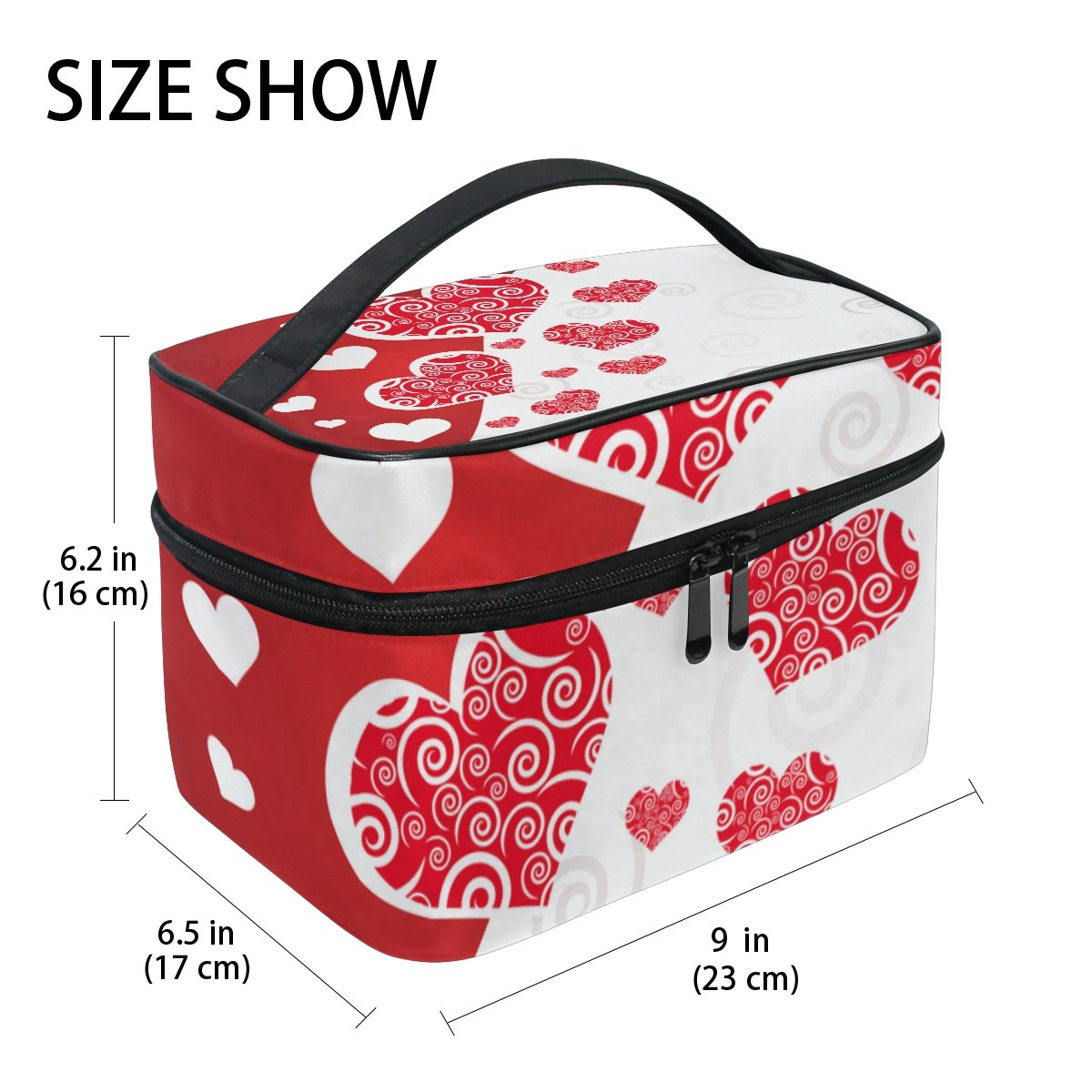 U LIFE Valentines Day Birthday Red Heart Love You Summer Spring Wedding Travel Cosmetic Makeup Toiletry Storage Bags Boxes Cases Organizers