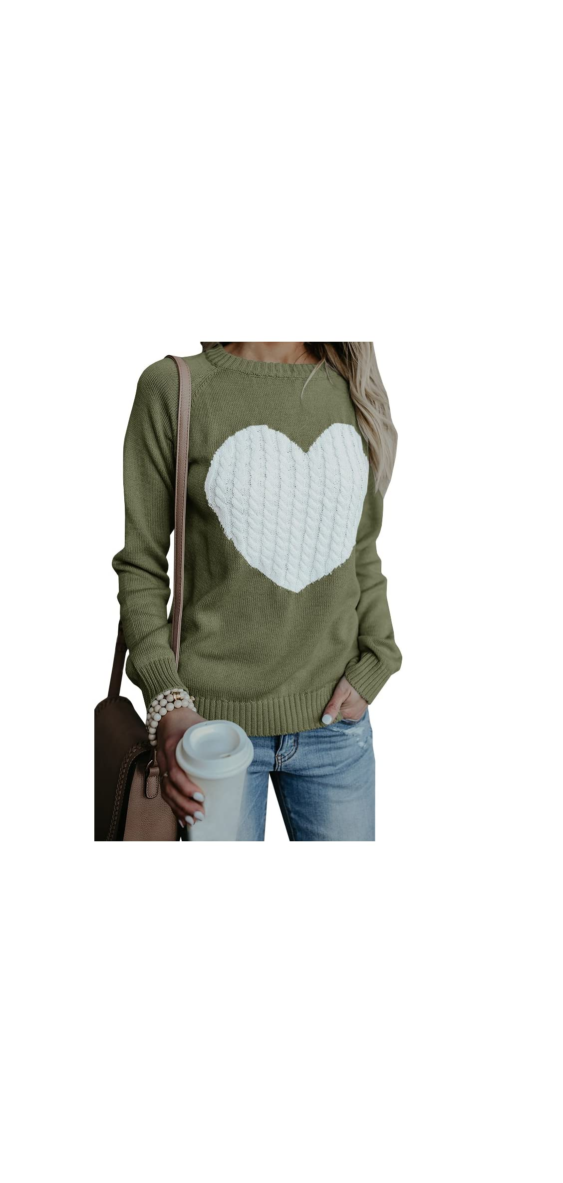 Womens Sweaters Pullover Cute Front Heart Crewneck Black