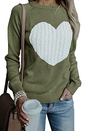 Farktop Womens Sweaters Pullover Cute Front Heart Scoop Neck Black Grey  Knit Jumper Top for Juniors at Amazon Women s Clothing store  07bc485535e