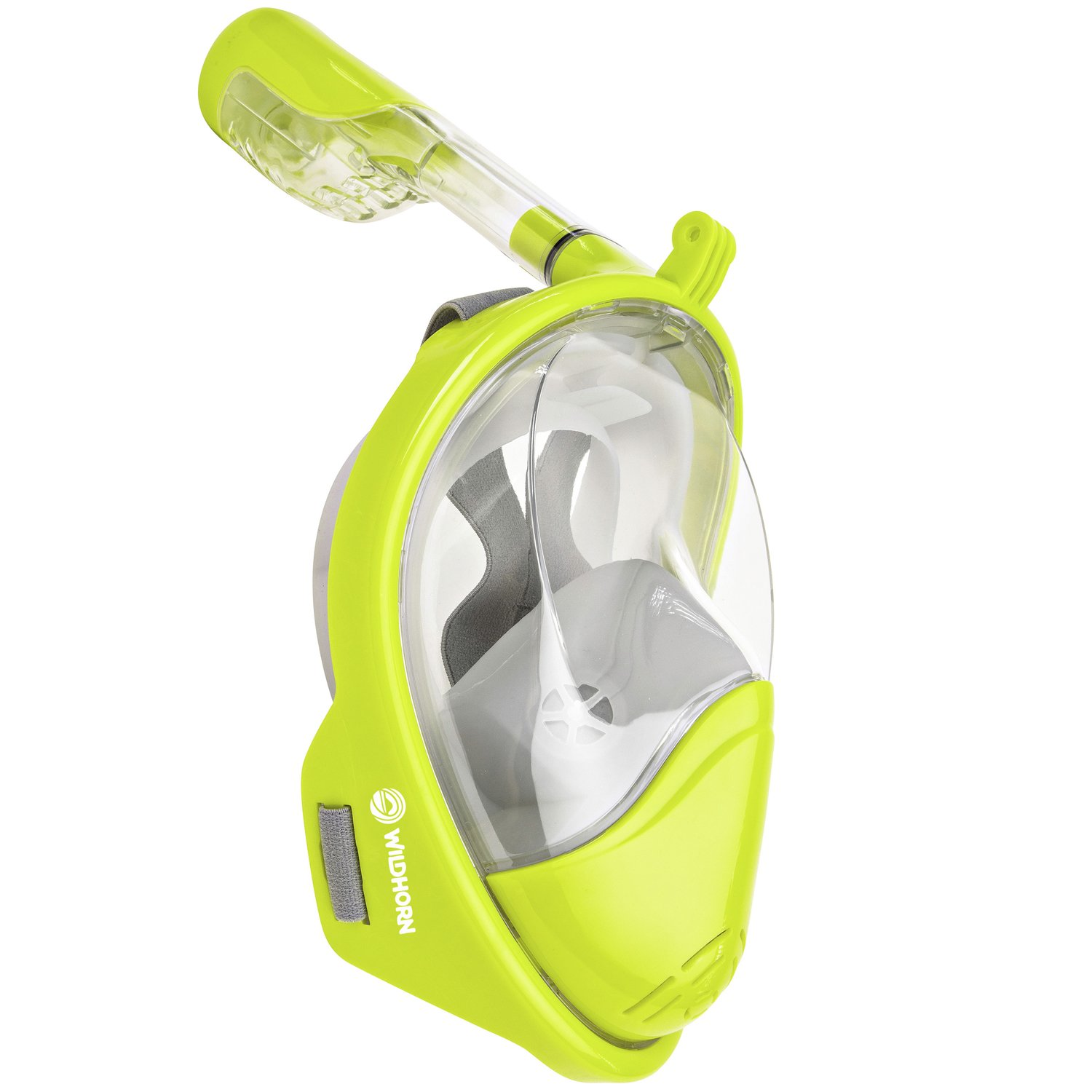 Seaview 180° GoPro Compatible Snorkel Mask- Panoramic Full Face Design. See More With Larger Viewing Area Than Traditional Masks. Prevents Gag Reflex with Tubeless Design (Electric, S/M) by WildHorn Outfitters (Image #1)