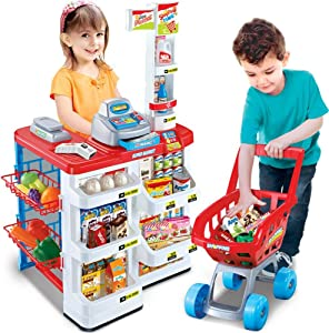 Supermarket Play Set Toys to Kids with Cash Register, Electronic Scanner Included with Sound and Light to toddlers