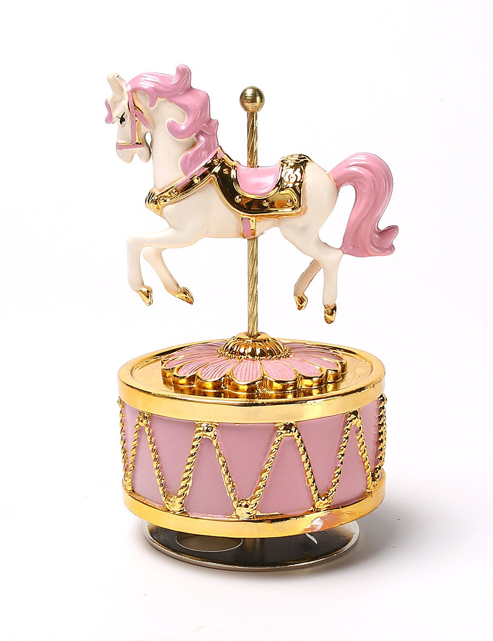 HoneyGifts Laxury Carousel Music Box, Happy Pony Design, for Kids (Pink & Gold)