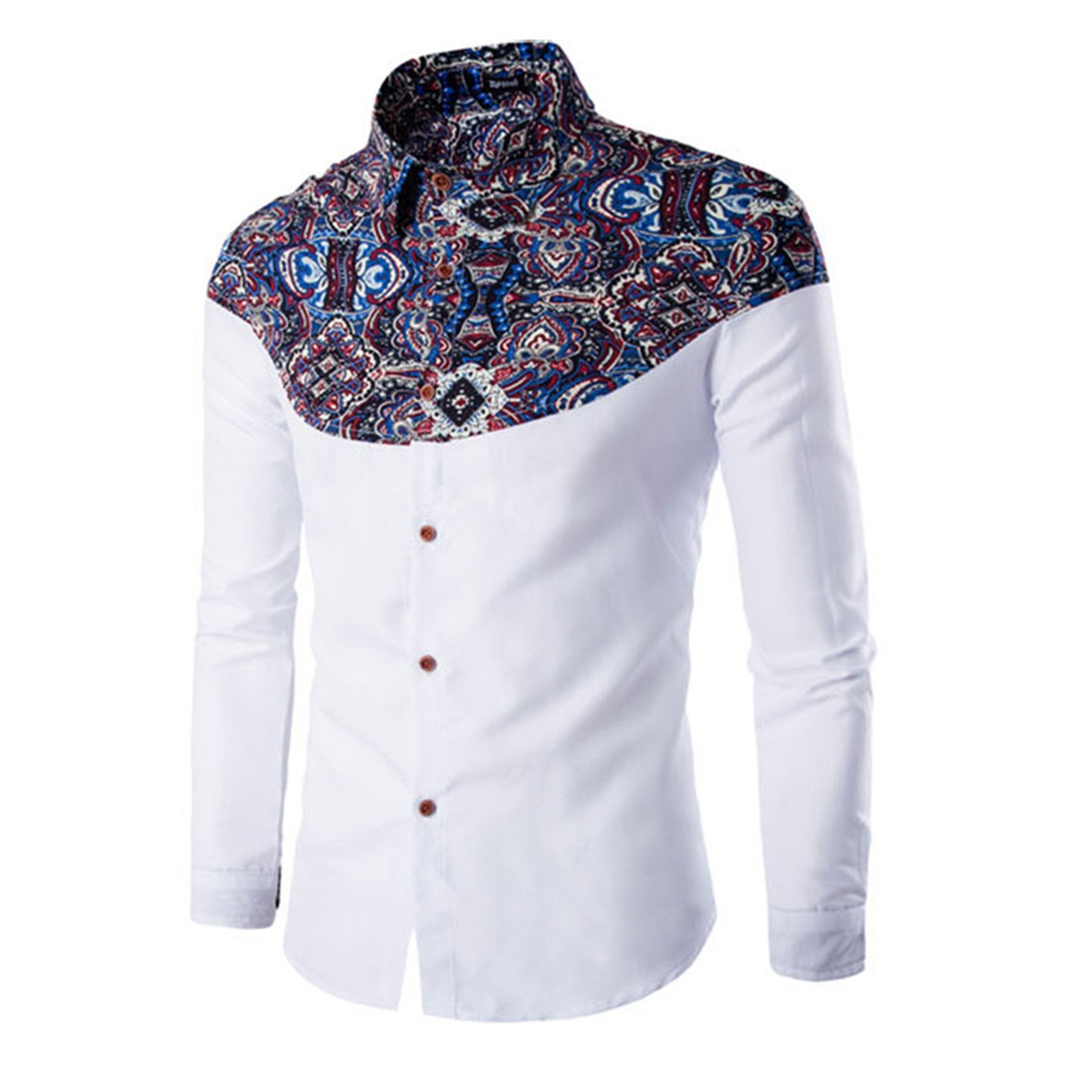 Thadensama Vintage Flower Patchwork Fashion Mens Shirts Full Sleeve Western Casual Young Man Tops Boys Slim Fit M-2Xl