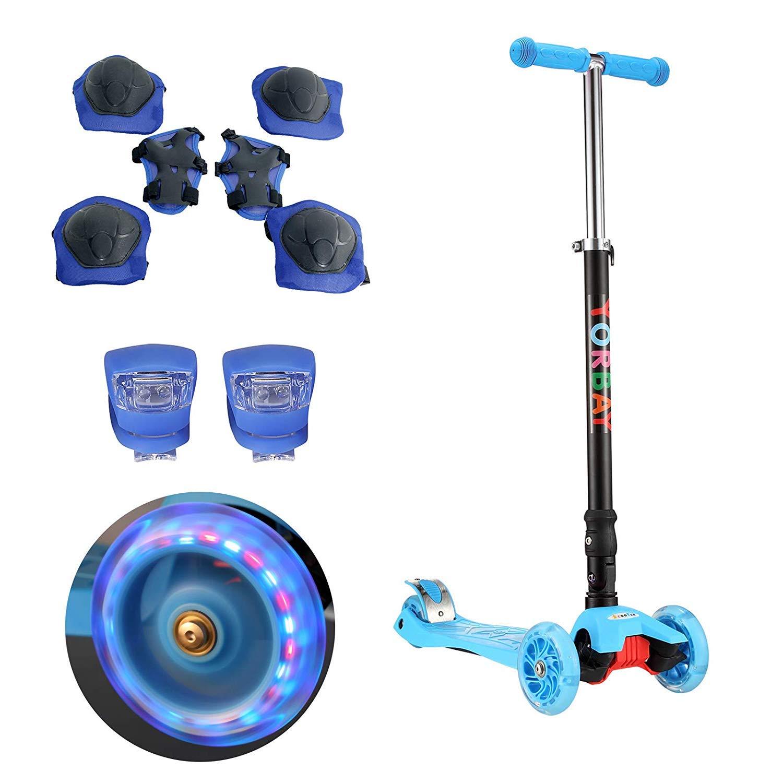 Yorbay Kinder Scooter Klappbar Roller mit LED Rollen Belastbar bis 60KG mit 2X LED Silikonleuchte