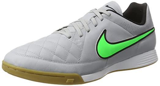Nike Tiempo Genio Leather Indoor [WOLF GREY/BLACK/GREEN STRIKE] (8.5