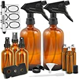 Duracare Amber Glass Spray Bottles, (2) 16oz Trigger Sprayers w/ Screw Cap, (3) 2oz Mist Sprayers, (3) 10mL Stainless Steel Roll-On Bottles w/ Labels & Washable Marker, Cap, Dropper & Funnel -BPA-free
