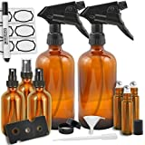 Amazon Price History for:Duracare Amber Glass Spray Bottles, (2) 16oz Trigger Sprayers w/ Screw Cap, (3) 2oz Mist Sprayers, (3) 10mL Stainless Steel Roll-On Bottles w/ Labels & Washable Marker, Cap, Dropper & Funnel -BPA-free