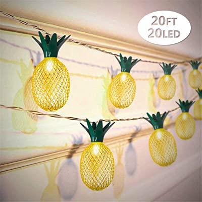 Wishwill 20ft 20 LED Pineapple String Lights, Battery Operated Fairy String Lights for Party Birthday Wedding Home Bedroom Decoration (Warm White, 2 Pack) : Garden & Outdoor