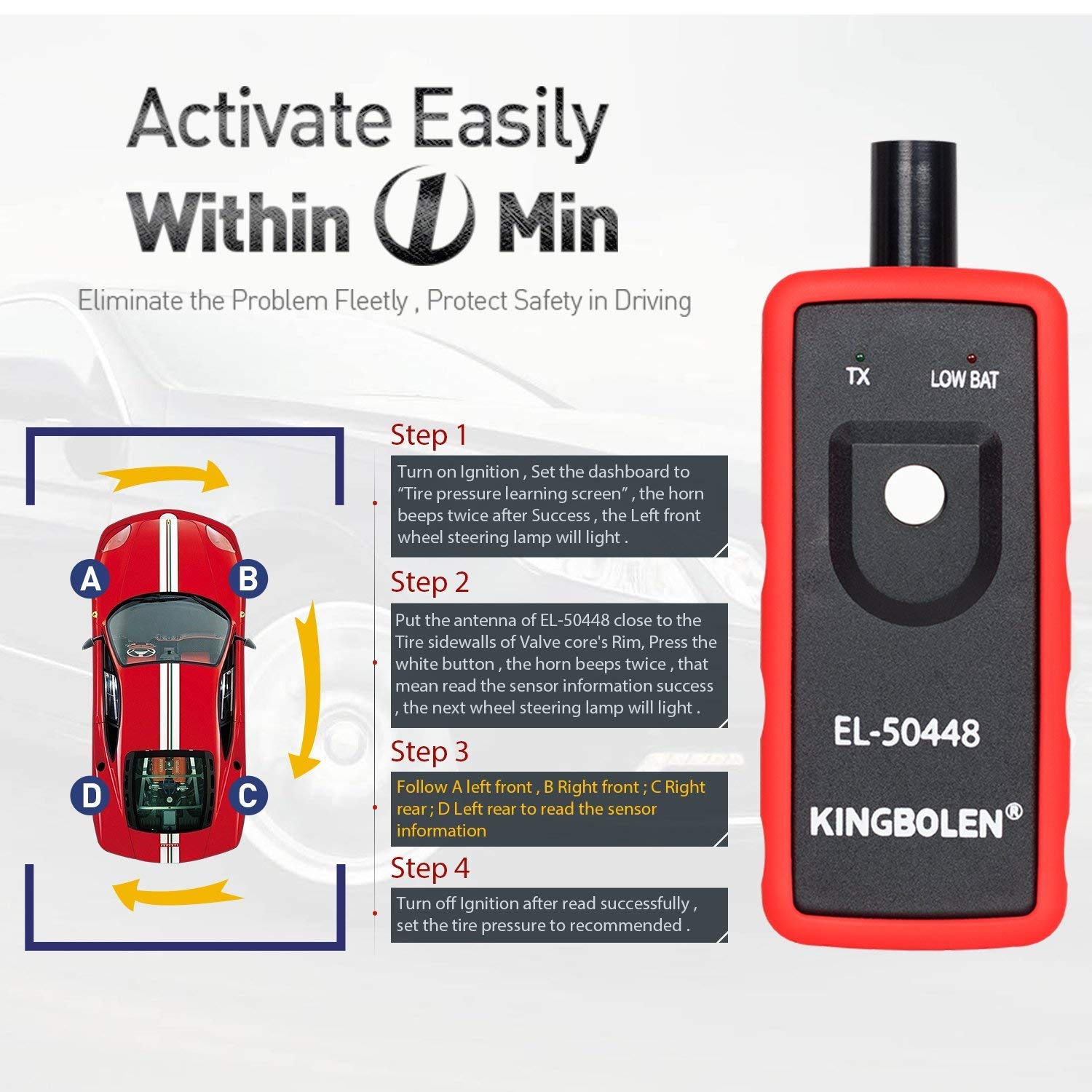 LAUNCH X431 Creader CRP123 Automotive Diagnostic Scan Tool OBD2 Auto Code Reader Support ENG/TCM/ABS/SRS System Code Reader with EL-50448 TPMS Activation Relearn Tool by LAUNCH (Image #9)