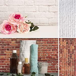 Allenjoy 34.4x15.7in Double Sided Brick Wall Photography Background 2 in 1 White Red Texture Pattern Waterproof Paper Tabletop Backdrop Jewelry Small Product Shoot Prop Professional Studio Photo Booth