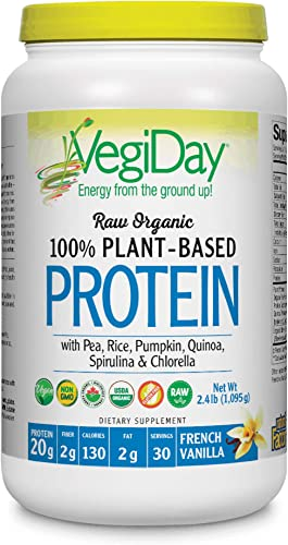 Natural Factors – Raw Organic Vegan Protein, Gluten Free, Dairy Free Non-GMO, Creamy Vanilla, 30 Servings 34 oz