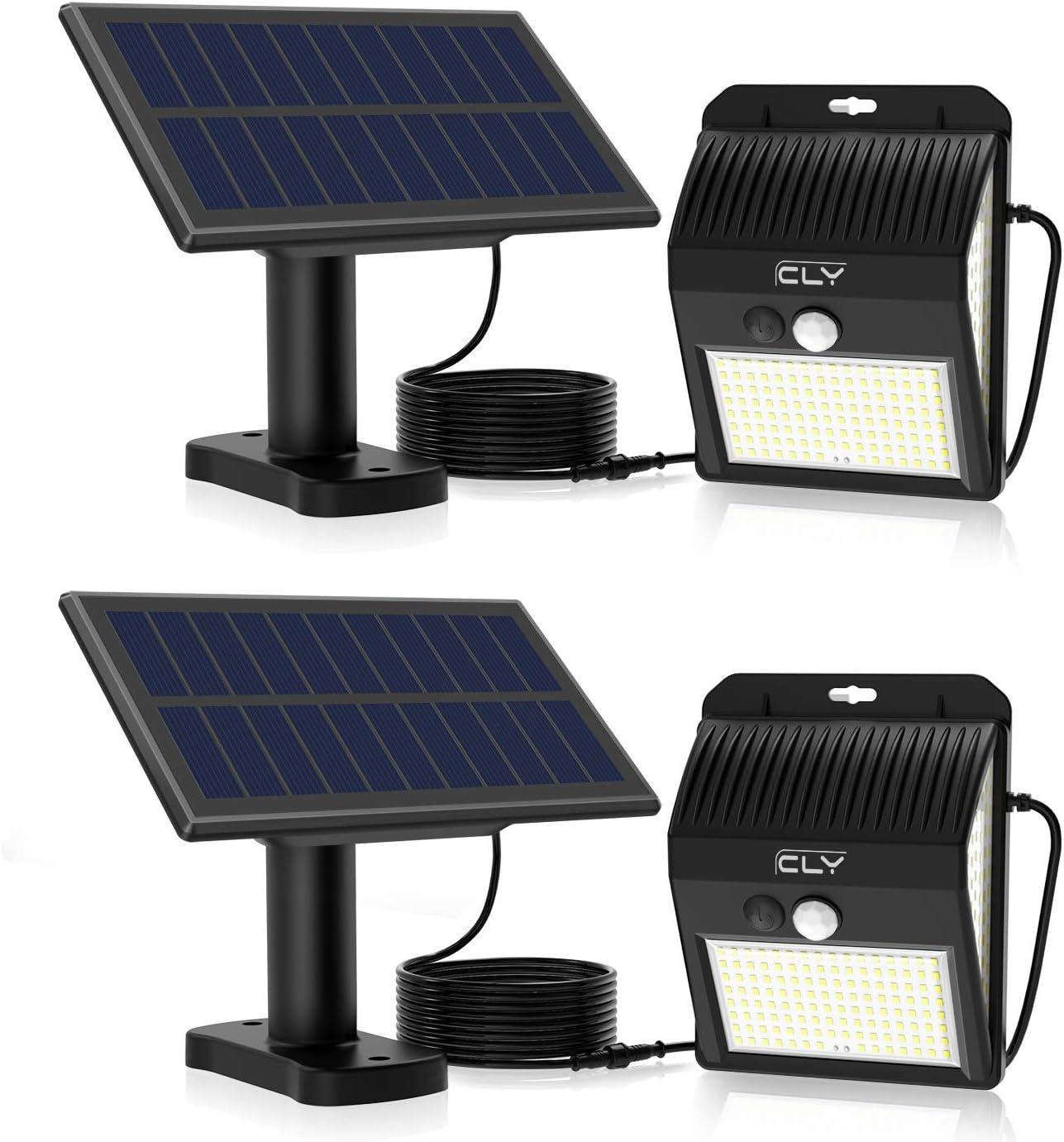 CLY Luces Solares LED Exterior Impermeable,Lámparas solares de pared con sensor de movimiento 6000K,extensión del cable de 3M, proyector para Jardín Muros Exteriore Patios Terrazas(2pcs)