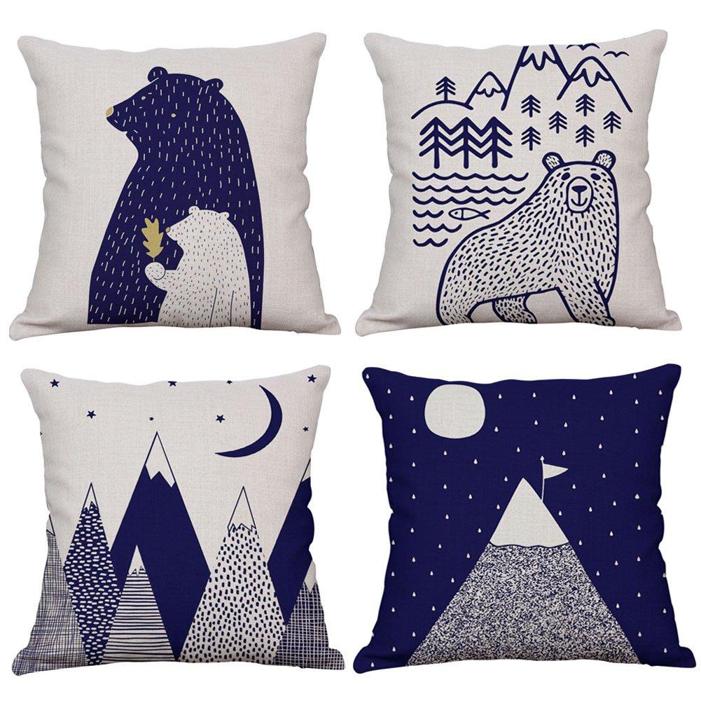 KACOPOL Woodland Style Cute Cartoon Bear & Mountain Throw Pillow Cover Cotton Linen Rustic Nursery Home Decor Pillow Case Cushion Cover for Kids Room 18 x 18 Inches (Mountain & Bear)
