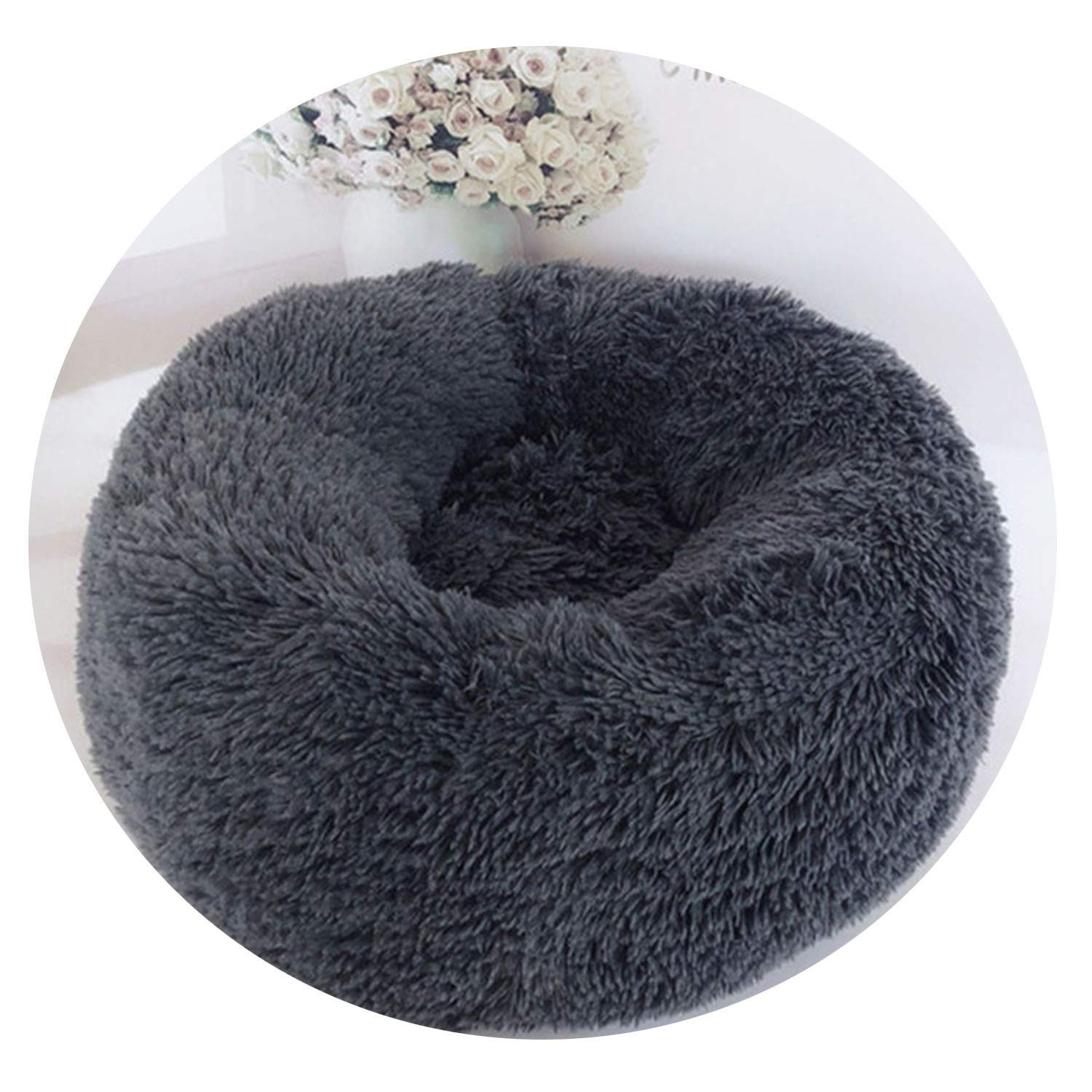 Dark grey M 60cm 9kg pet dark grey M 60cm 9kg pet Sex Appealing Luxury Dog Bed Warm Deep Sleep Thick Donut Pet Beds for Cat Small Medium Dogs Long-Pile Plush Soft Round Dog House,Dark Grey,M 60cm 9kg pet