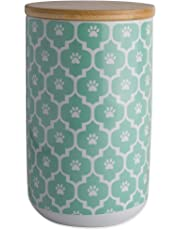 """DII Bone Dry Ceramic Pet Treat Storage Canister with Air Tigh Lid 4""""(Dia) x 6.5"""" (H), Perfect Food and Treat Jar for Dogs and Cats-Aqua Paw Lattice"""