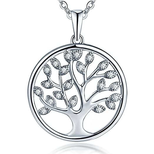 Tree Of Life Necklace 925 Sterling Silver Cubic Zircon Family Tree Yggdrasil Pendant Necklace For Women 18 Inch UDVuzIm